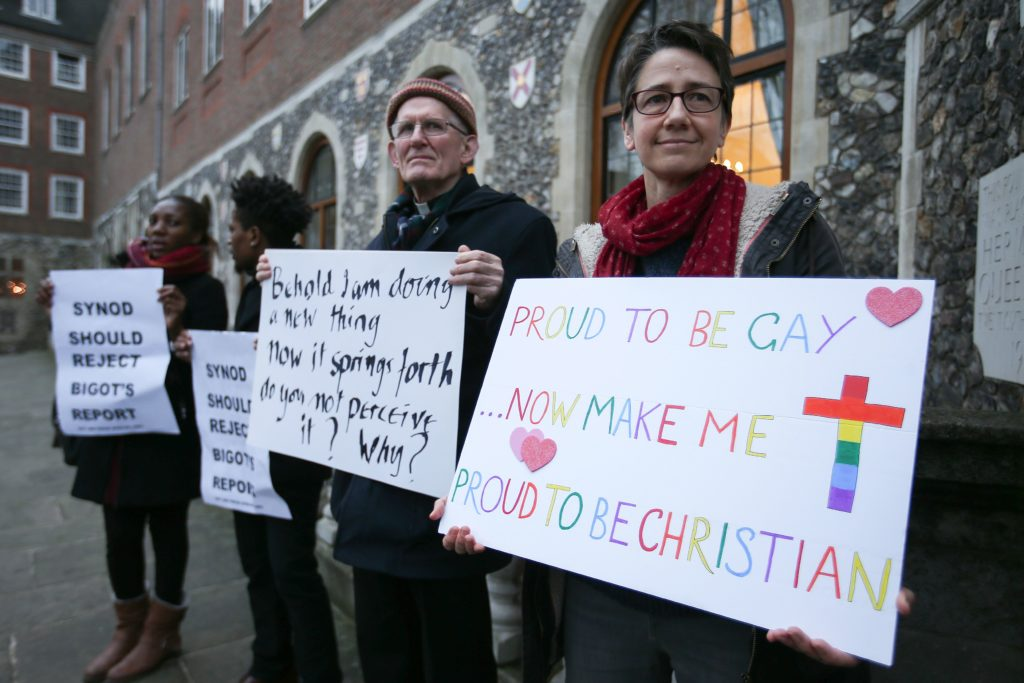 Protesters support same-sex marriage in 2017—the issue has long been dividing the Anglican Church, with the Archbishop of Canterbury refusing to invite same-sex couples to the Lambeth 2020 conference.