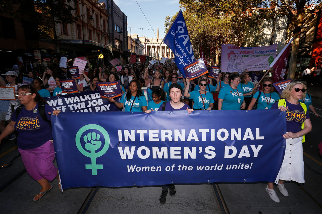 Thousands of demonstrators attend a rally for International Women's Day on March 8, 2017 in Melbourne, Australia. Marchers were calling for de-colonisation of Australia, an end to racism, economic justice for all women and reproductive justice, as well as supporting the struggle for the liberation of all women around the world, inclusive of trans women and sex workers.