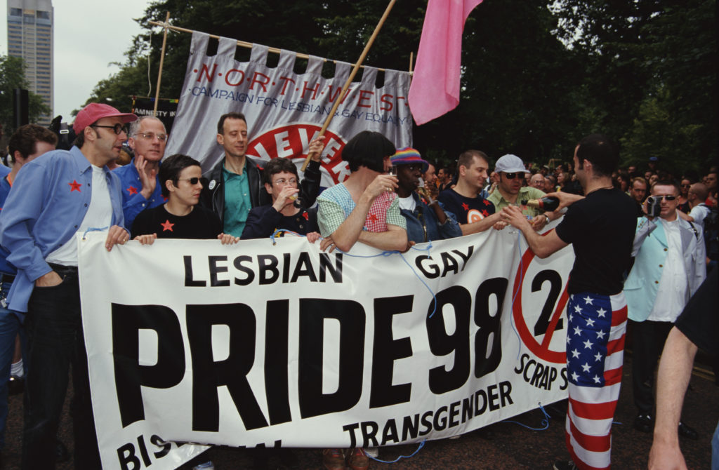 A demonstration against Section 28, whose legacy still affects LGBT+ teachers.