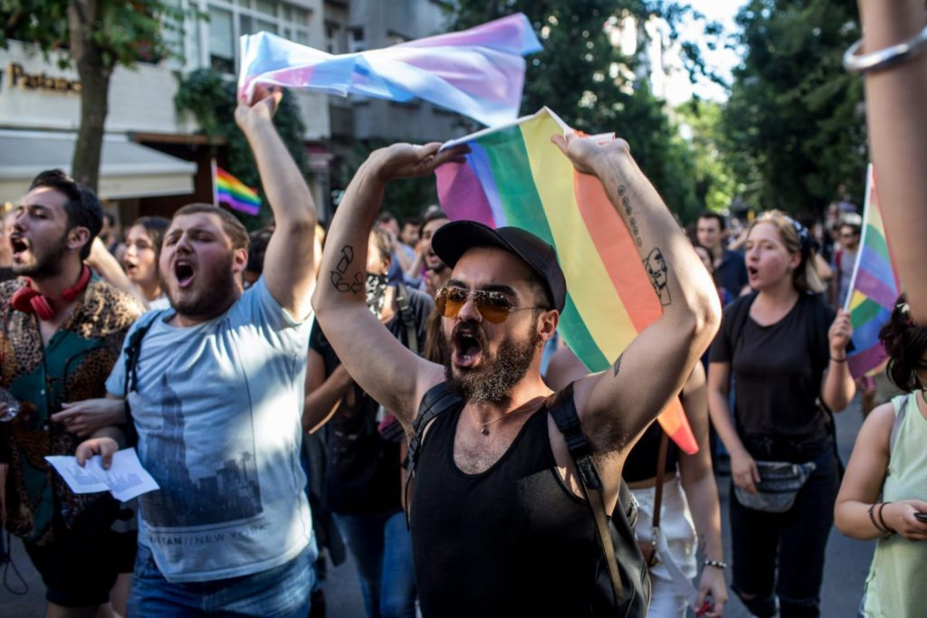 ISTANBUL, TURKEY - JUNE 25: LGBT supporters march towards Taksim Square on June 25, 2017 in Istanbul, Turkey. The 2017 LGBT Pride March was banned by authorities for the third year. Organisers defied the order and people attempted to march to Taksim Square but were met by a heavy police presence and the crowd was dispersed by tear gas and several people were arrested. (Photo by Chris McGrath/Getty Images)