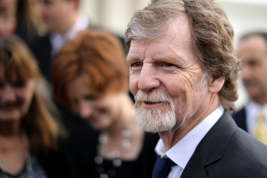 Conservative Christian baker Jack Phillips talks with journalists in front of the Supreme Court after the court heard the case Masterpiece Cakeshop v. Colorado Civil Rights Commission December 5, 2017 in Washington, DC.