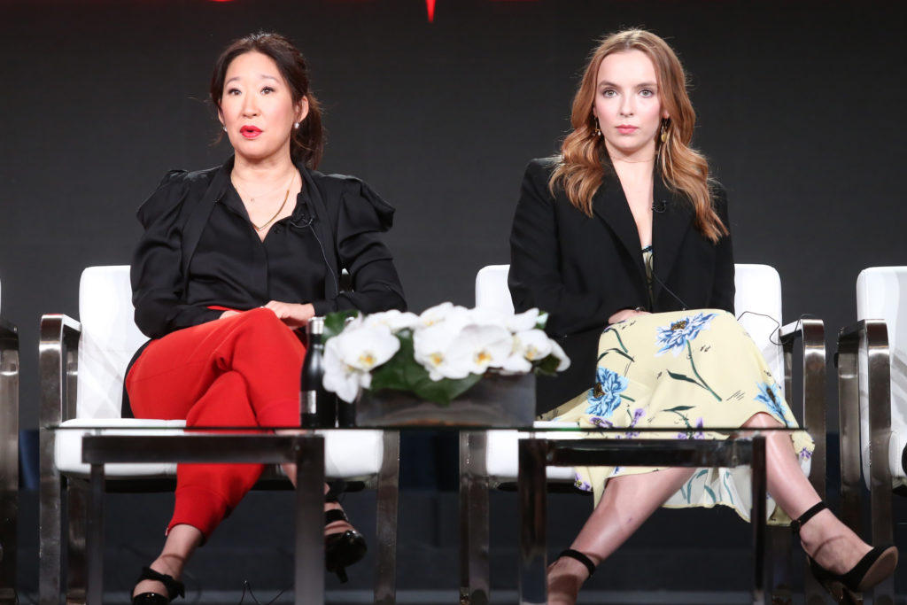 Actors Sandra Oh (L) and Jodie Comer of 'Killing Eve' speak onstage during the BBC America portion of the 2018 Winter Television Critics Association Press Tour at The Langham Huntington, Pasadena on January 12, 2018 in Pasadena, California.