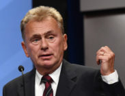 """""""Wheel of Fortune"""" host Pat Sajak speaks as he is inducted into the National Association of Broadcasters Broadcasting Hall of Fame during the NAB Achievement in Broadcasting Dinner at the Encore Las Vegas on April 9, 2018 in Las Vegas, Nevada."""