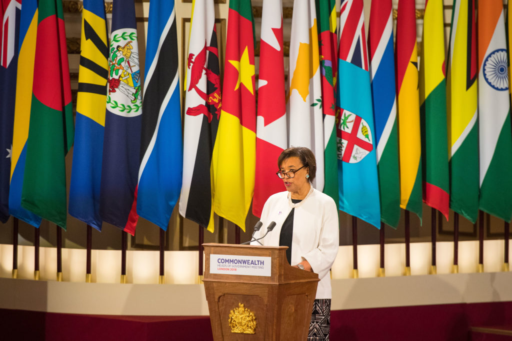 Commonwealth Secretary-General Patricia Scotland gives a speech at the formal opening of the Commonwealth Heads of Government Meeting