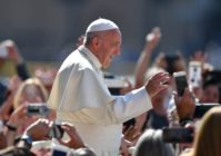 """Pope Francis, representing an open letter to bishops criticising the church for spreading the """"plague of the homosexual agenda"""""""