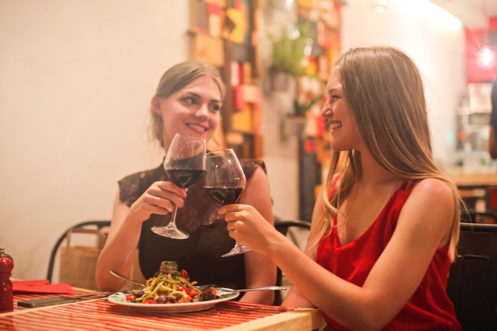 Girl first date drinking wine