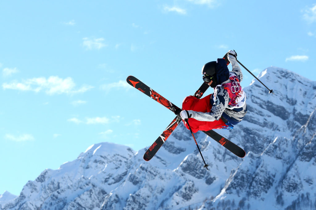 Gus Kenworthy of the United States competes in the Freestyle Skiing Men's Ski Slopestyle Qualification during day six of the Sochi 2014 Winter Olympics at Rosa Khutor Extreme Park on February 13, 2014 in Sochi, Russia. (Cameron Spencer/Getty)