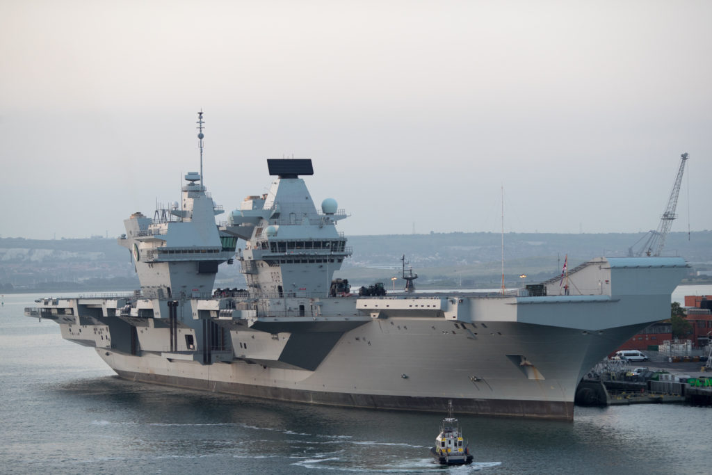 The HMS Queen Elizabeth anchored in Portsmouth, England