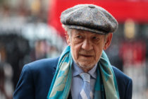 British actor Sir Ian McKellen arrives at Westminster Abbey for a memorial service for theatre great Sir Peter Hall OBE on September 11, 2018 in London, England.