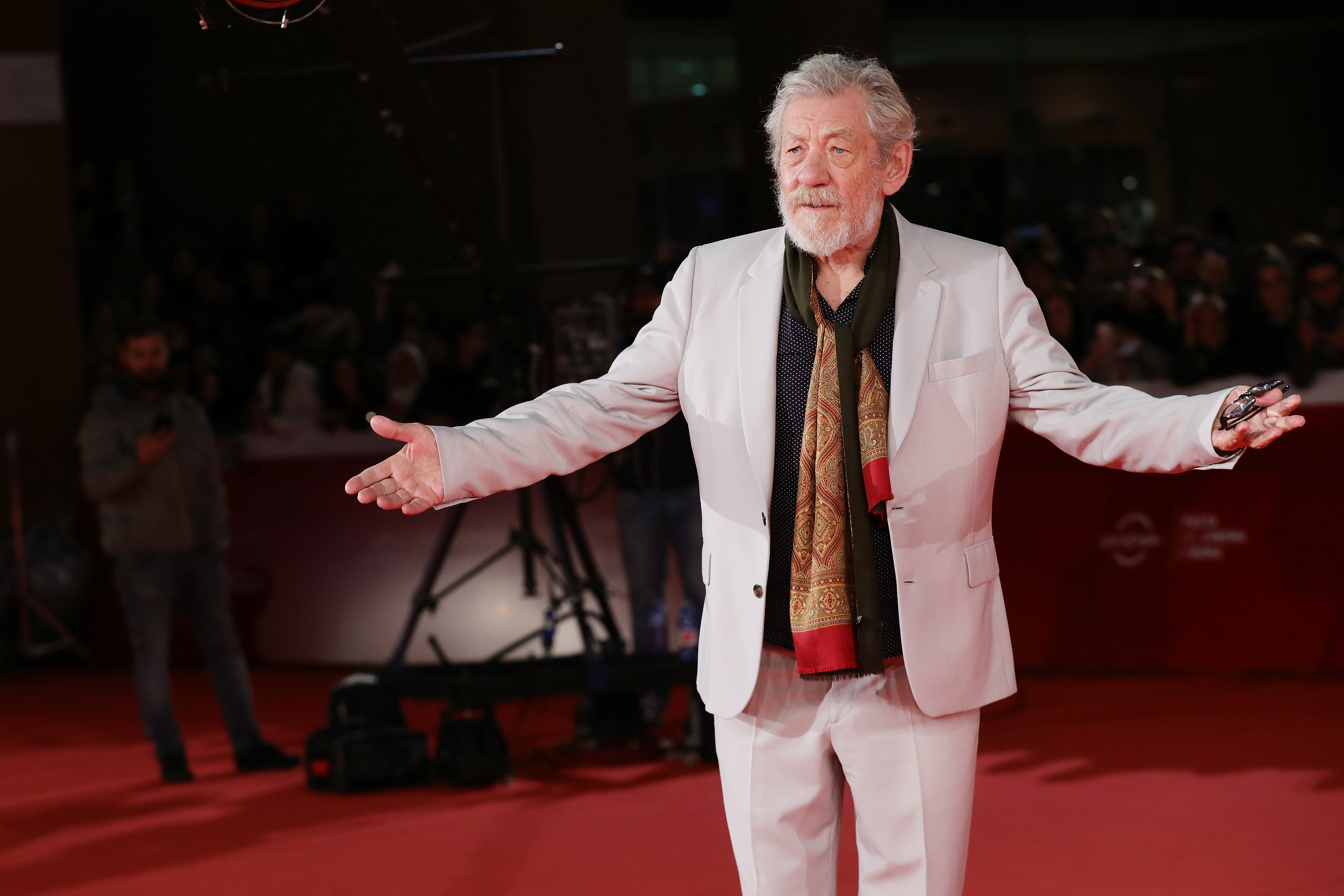Ian McKellen walks a red carpet for 'Ian McKellen: Playing The Part' during the 12th Rome Film Fest at Auditorium Parco Della Musica on November 1, 2017 in Rome, Italy.
