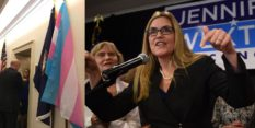 Jennifer Wexton speaks to supporters after winning the Virginia-10 district congressional election