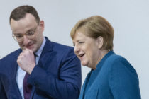 Jens Spahn and the German Chancellor Angela Merkel pictured at the federal executive board meeting on December 7, 2018 in Hamburg, Germany.