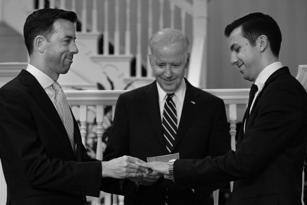 Joe Biden officiates the wedding of White House staffers Brian Mosteller and Joe Mahshie