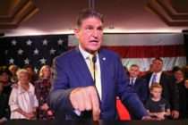 Senator Joe Manchin (D-WV) celebrates at his election day victory party at the Embassy Suites on November 6, 2018 in Charleston, West Virginia.