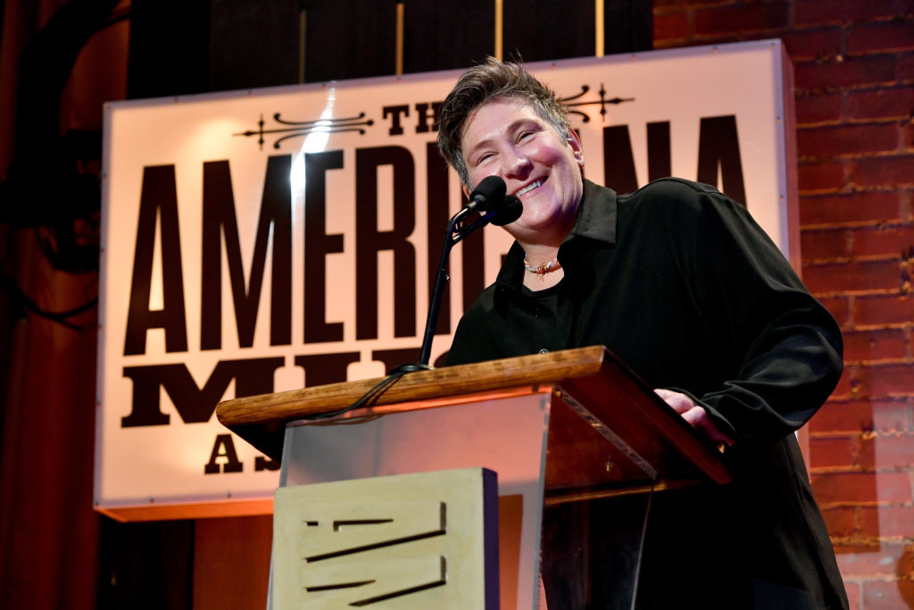 K.D. Lang accepts an award onstage during the 2018 Americana Music Honors and Awards. (Erika Goldring/Getty Images for Americana Music Association)
