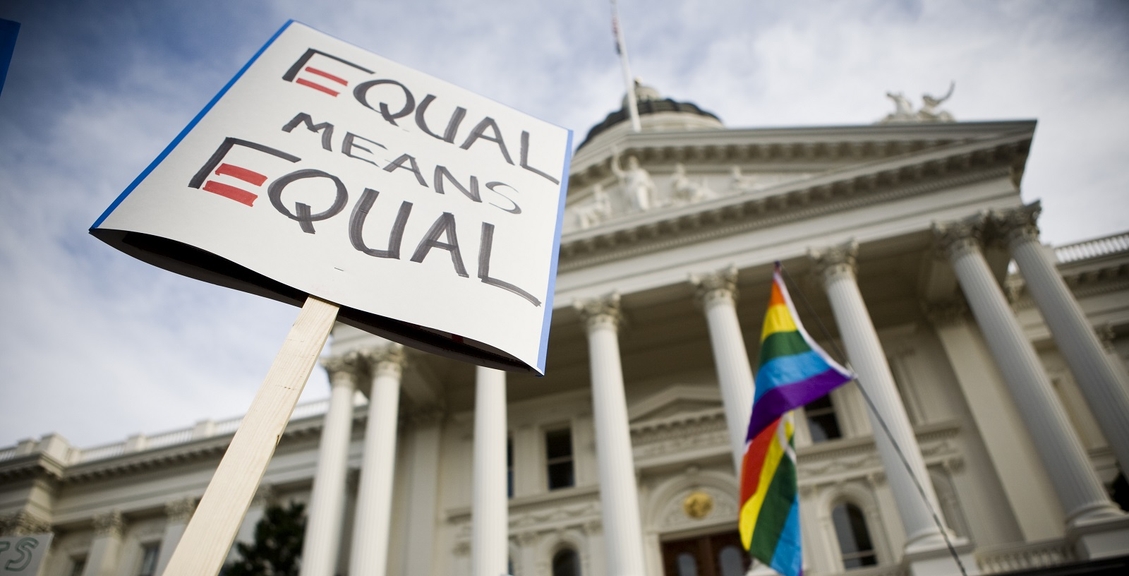 State Equality Index: Supporters rally on the steps of the State Capitol November 22, 2008 in Sacramento, California.