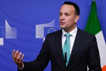 Irish Taioseach Leo Varadkar gives a press conference about the Brexit at the European Commission headquarters in Brussels on February 6, 2019.