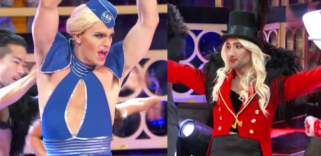 Antoni Porowski and Tan France as Britney Spears on Lip Sync Battle