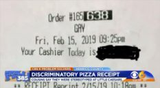 "Little Caesars receipt with ""gay"" on it"