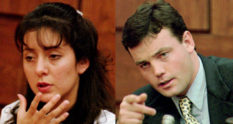 Lorena and John Bobbitt court photos shown side by side after wife cut off husban's penis.