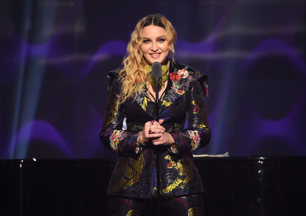 Madonna speaks on stage at the Billboard Women in Music 2016 event on December 9,
