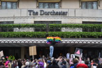 Protest outside The Dorchester hotel in London opposes death penalty for gay sex introduced by Brunei.