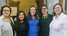 LGBT+ Texas lawmakers Celia Israel, Jessica González, Erin Zwiener, Mary González and Julie Johnson