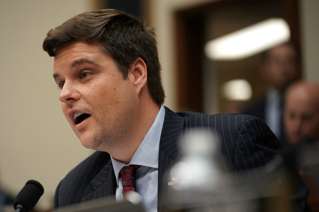 US Rep. Matt Gaetz (R-FL) speaks during a hearing before the House Judiciary Committee