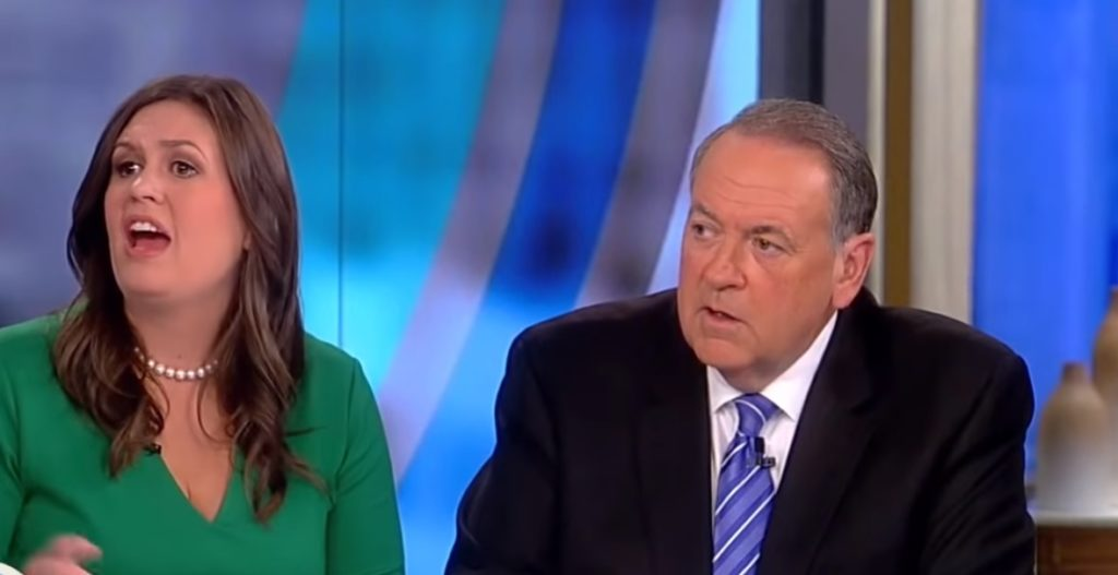 Sarah Huckabee Sanders with Mike Huckabee on The View