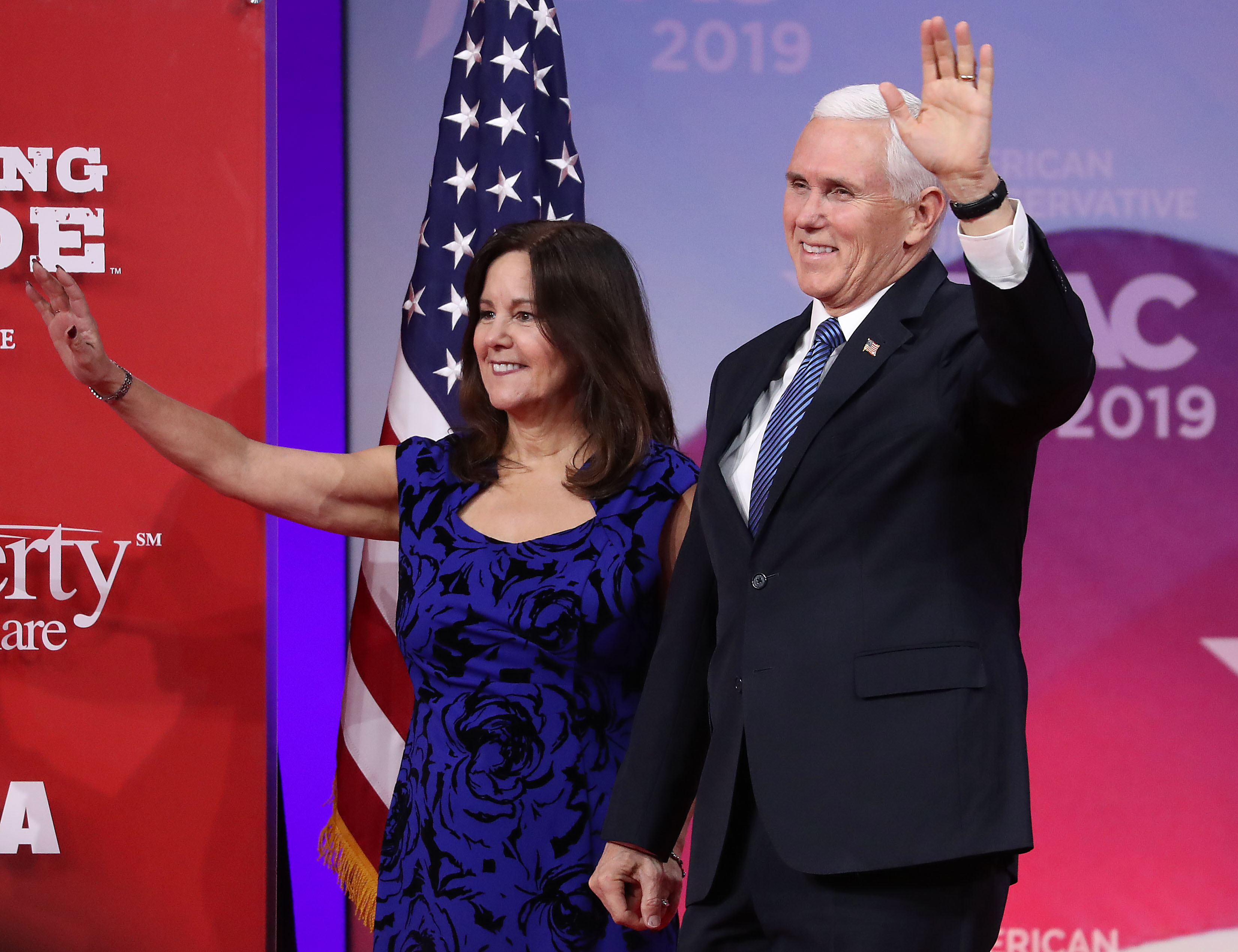 US Vice President Mike Pence and his wife Karen waving