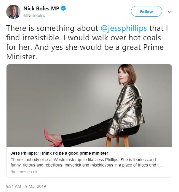 Tory MP Nick Boles was attacked over the tweet in support of Labour's Jess Phillips