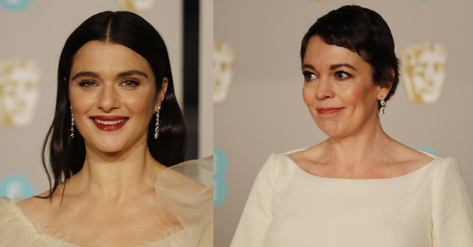 British actors Rachel Weisz and Olivia Colman pose on the red carpet upon arrival at the BAFTAs at the Royal Albert Hall in London on February 10, 2019.
