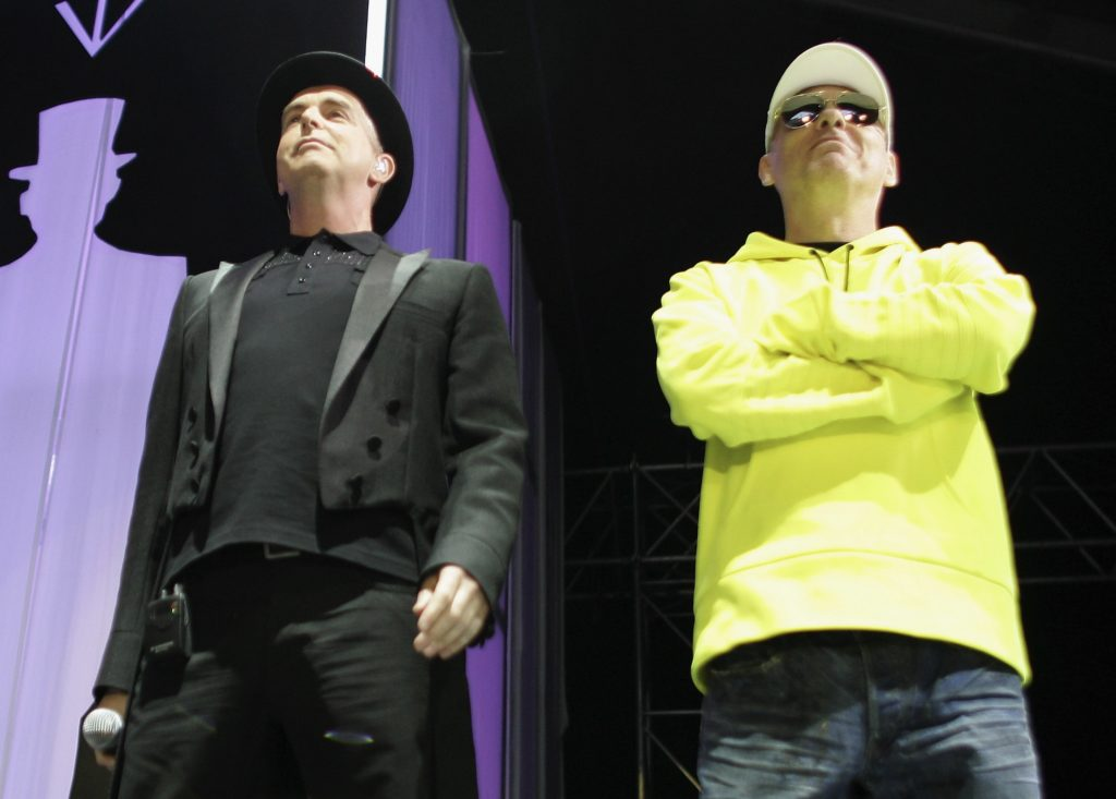 Neil Tennant and Chris Lowe of Pet Shop Boys perform as part of HM Tower Of London Festival Of Music's inaugural jazz and opera festival at HM Tower of London on June 28, 2006 in London, England.
