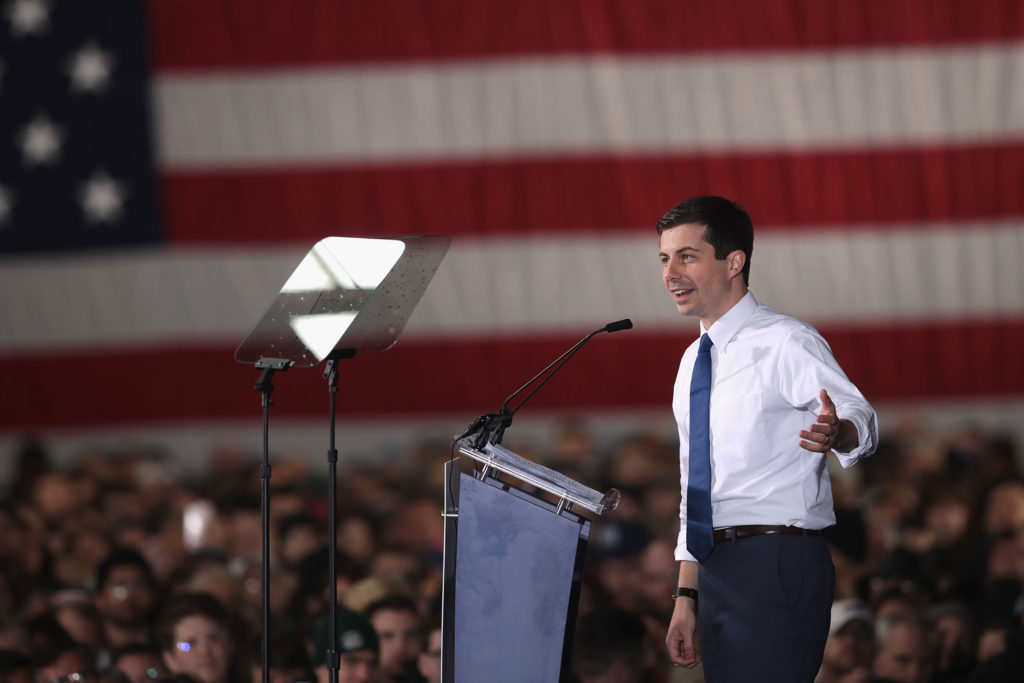 South Bend Mayor Pete Buttigieg announces that he will be seeking the Democratic nomination for president during a rally in the old Studebaker car factory on April 14, 2019 in South Bend, Indiana.