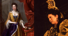Painting of Queen Anne in the 18th century next to Olivia Colman as Queen Anne in The Favourite, a tale about a LGB monarch