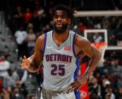 Reggie Bullock #25 of the Detroit Pistons reacts during the game against the Atlanta Hawks at Philips Arena on February 11, 2018 in Atlanta, Georgia.