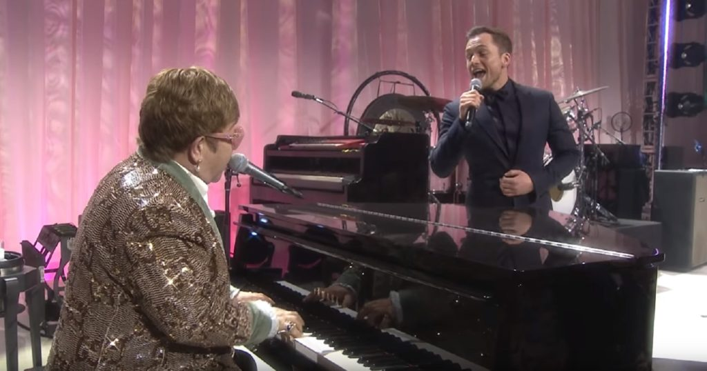 Rocketman star Taron Egerton duets with Sir Elton John