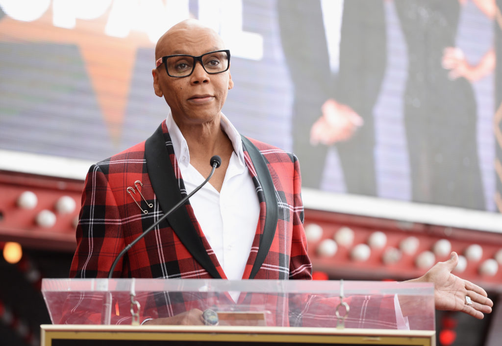 Drag queen RuPaul is honored with a star on The Hollywood Walk of Fame on March 16, 2018 in Hollywood, California.