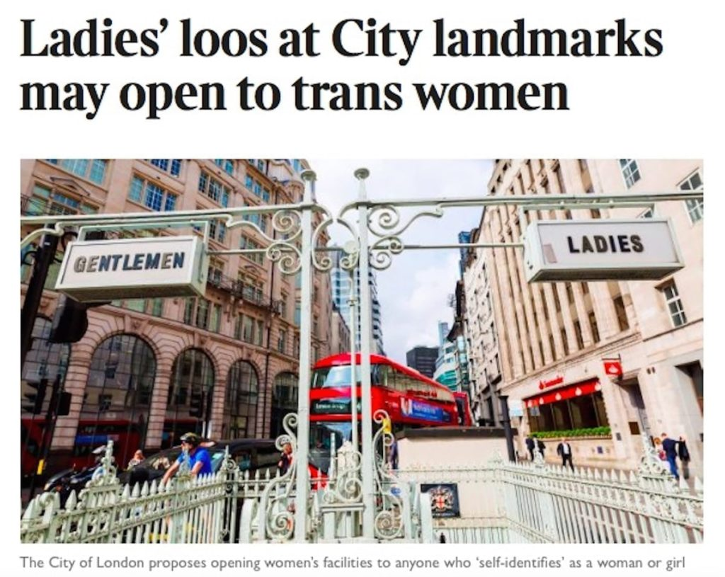 Ladies' loos at City landmarks may open to trans women. Sunday Times Article
