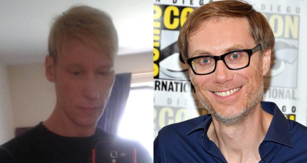 """Stephen Merchant (right), who is set to play Stephen Port (left) in a BBC drama on the """"Grindr killer"""""""
