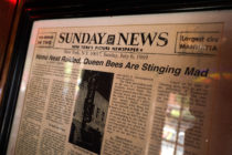 LGBT history: A newspaper from 1969 hangs in New York's Stonewall Inn, considered the birthplace of the modern gay rights movement, where patrons fought back against police persecution in 1969.