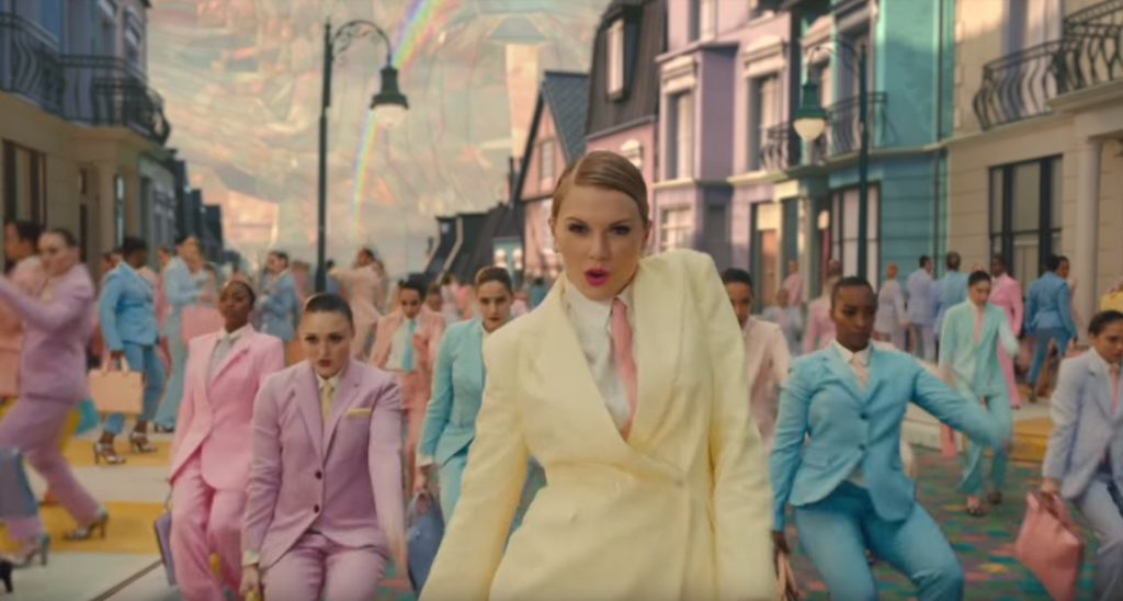 "Taylor Swift in the music video for track ""ME!"""