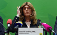 Transgender MP Tessa Ganserer, member of the Greens party and member of the Bavarian state parliament, gives a the press conference