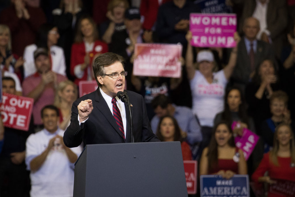 Texas Lt. Governor Dan Patrick addresses the crowd at a rally in support of Sen. Ted Cruz (R-TX) on October 22, 2018 at the Toyota Center in Houston, Texas.