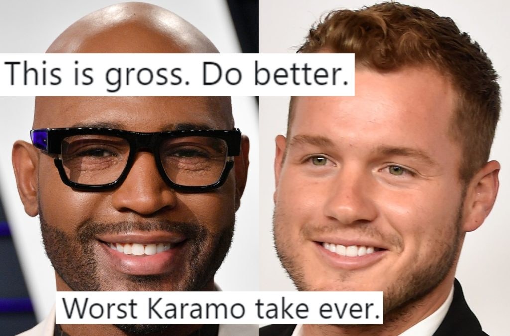 Colton Underwood from The Bachelor next to Queer Eye star Karamo Brown, overlaid with tweets.