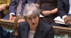 Prime Minister Theresa May speaks during PMQs