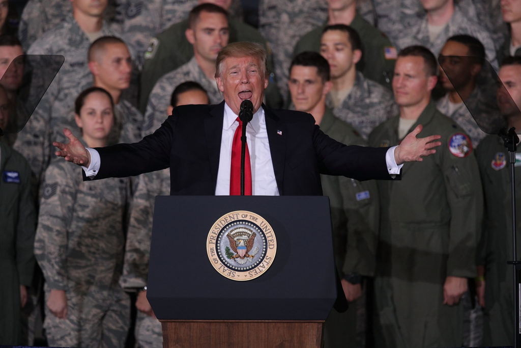 President Donald Trump speaks to Air Force personnel