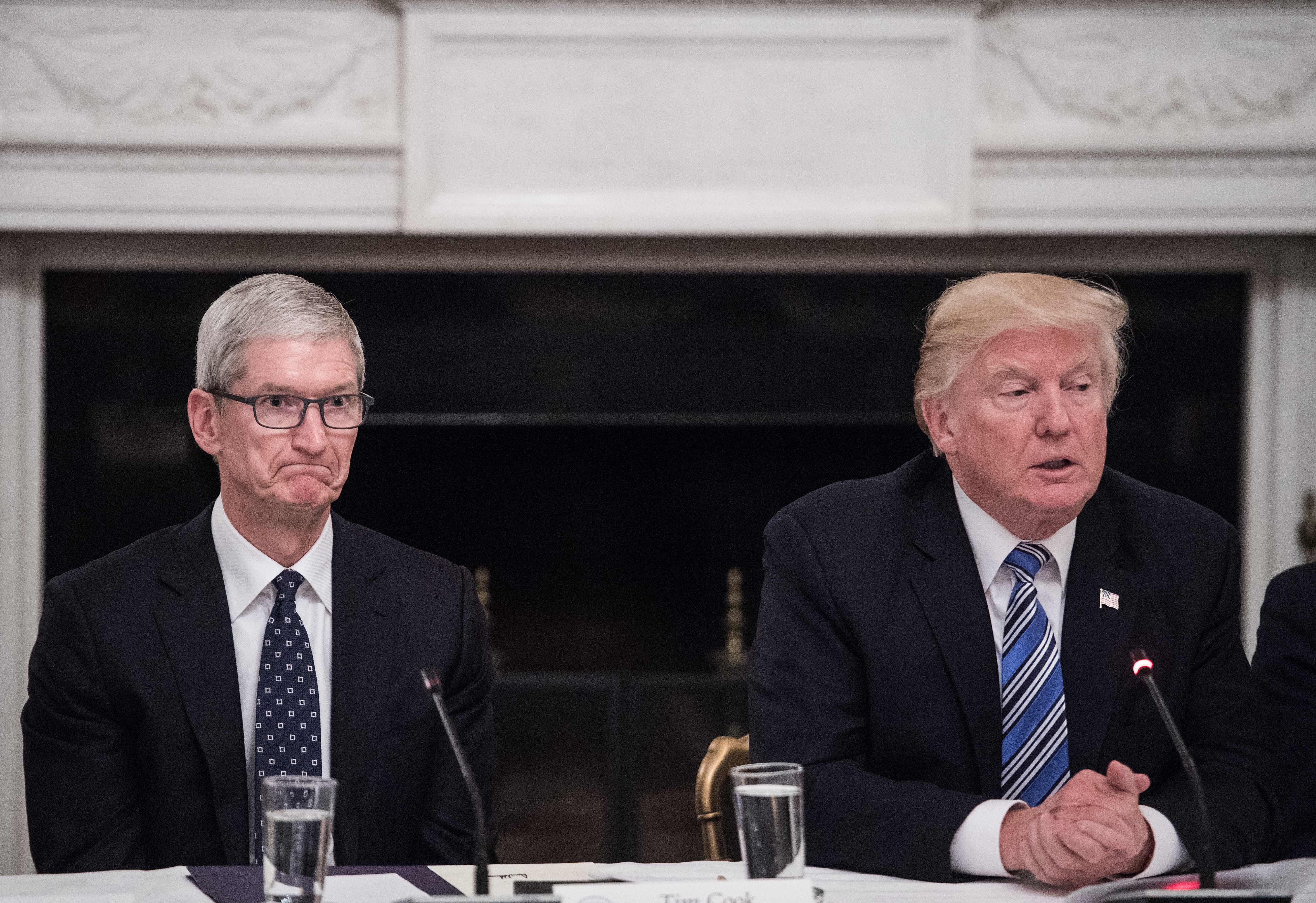 Apple CEO Tim Cook (L) listens to US President Donald Trump during an American Technology Council roundtable at the White House in Washington, DC, on June 19, 2017.