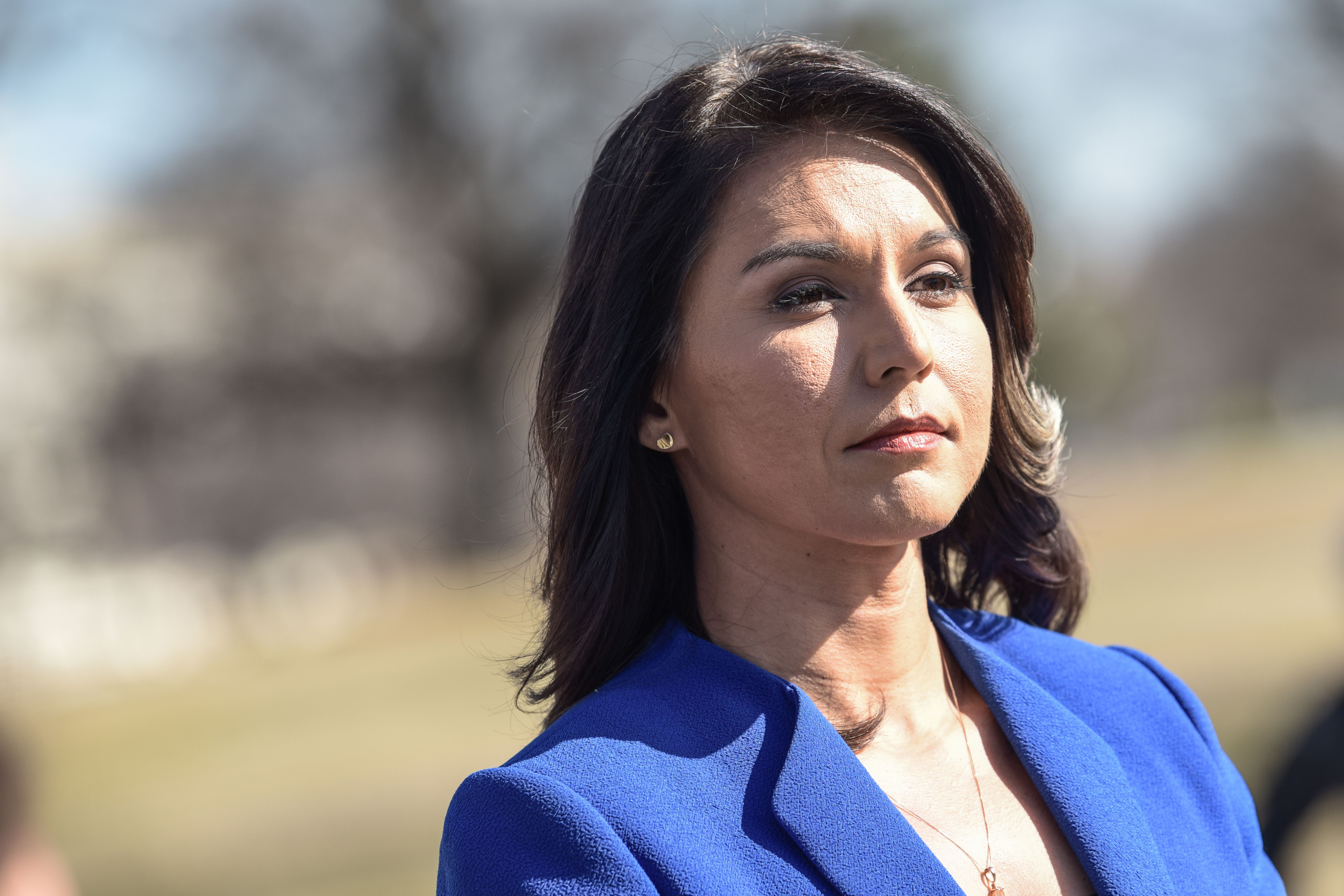 Democrat Congresswoman Tulsi Gabbard from Hawaii, an official candidate for the Democratic Primaries of the 2020 US Presidential election, gives a press conference in Washington DC on February 15, 2019.