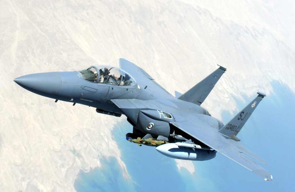 A U.S. Air Force F-15 Strike Eagle flies over Southwest Asia during combat operations on July 6, 2004.